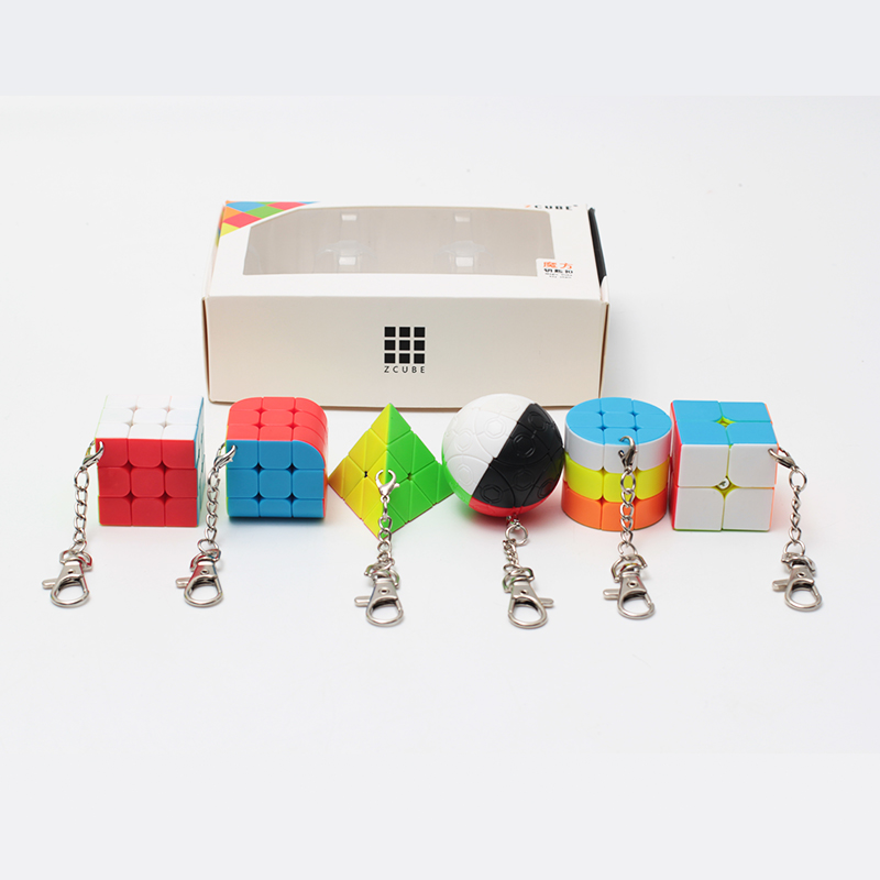 ZCUBE Bundle 6PCS/Set Gift Pack Mini Magic Cube 2x2x2 3x3x3 Magic Ball Cylinder Keychain Puzzle Educational Toys For Children