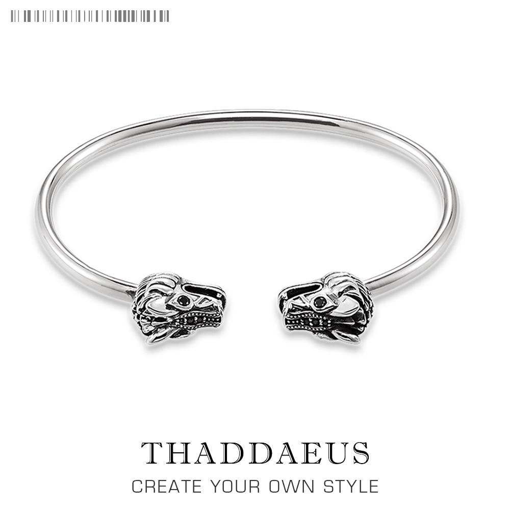Bracelet Bangles Dragon Pave Thomas Style Fashion Karma Punk Jewelry Gift For Rebel Men Women,2017 Heart In 925 Sterling Silver