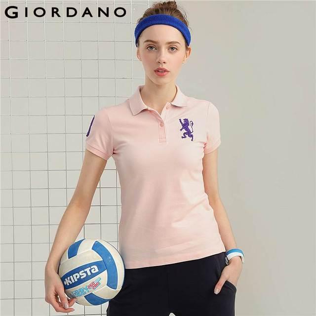 Джордано женские рубашки поло женские Лев вышивка поло с короткими рукавами колор-блокинг модные поло Mujer Femmina летние топы
