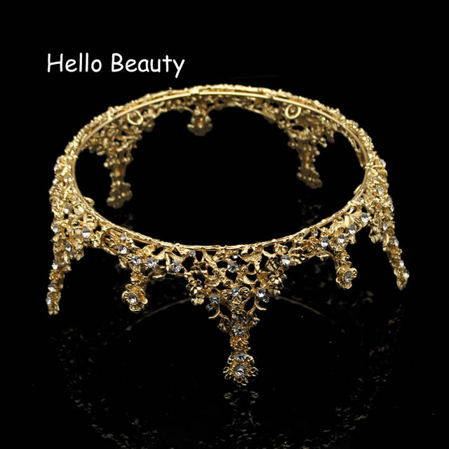 Gold Color Baroque Vintage Men Diadem Large Crystal Full Round Prom King Crown  Wedding Pageant Queen 621afee1f9a5