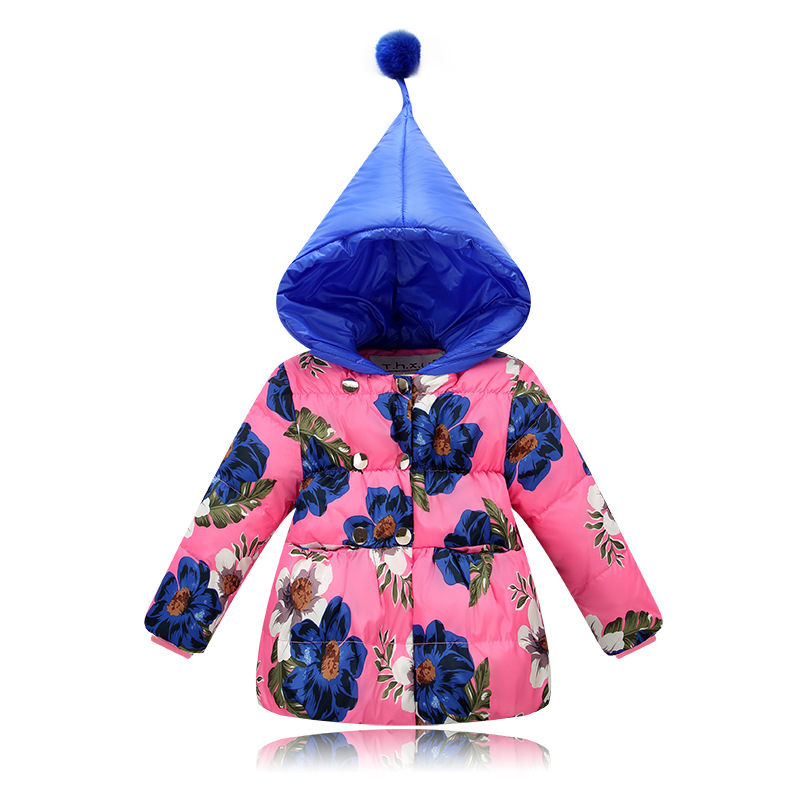 ФОТО 2017 baby girl clothes pointed hat hooded white duck down baby girls coat flower printed winter girls jackets children outerwear