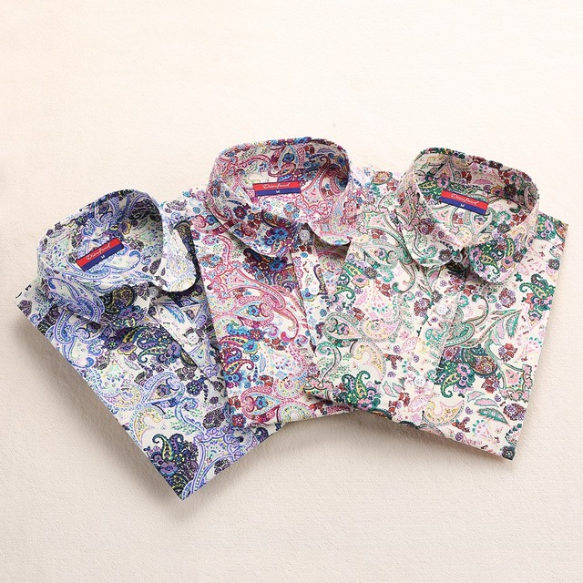 Clearance! Turn Down Collar Floral Long Sleeve Shirt Tops And Blouses For Women