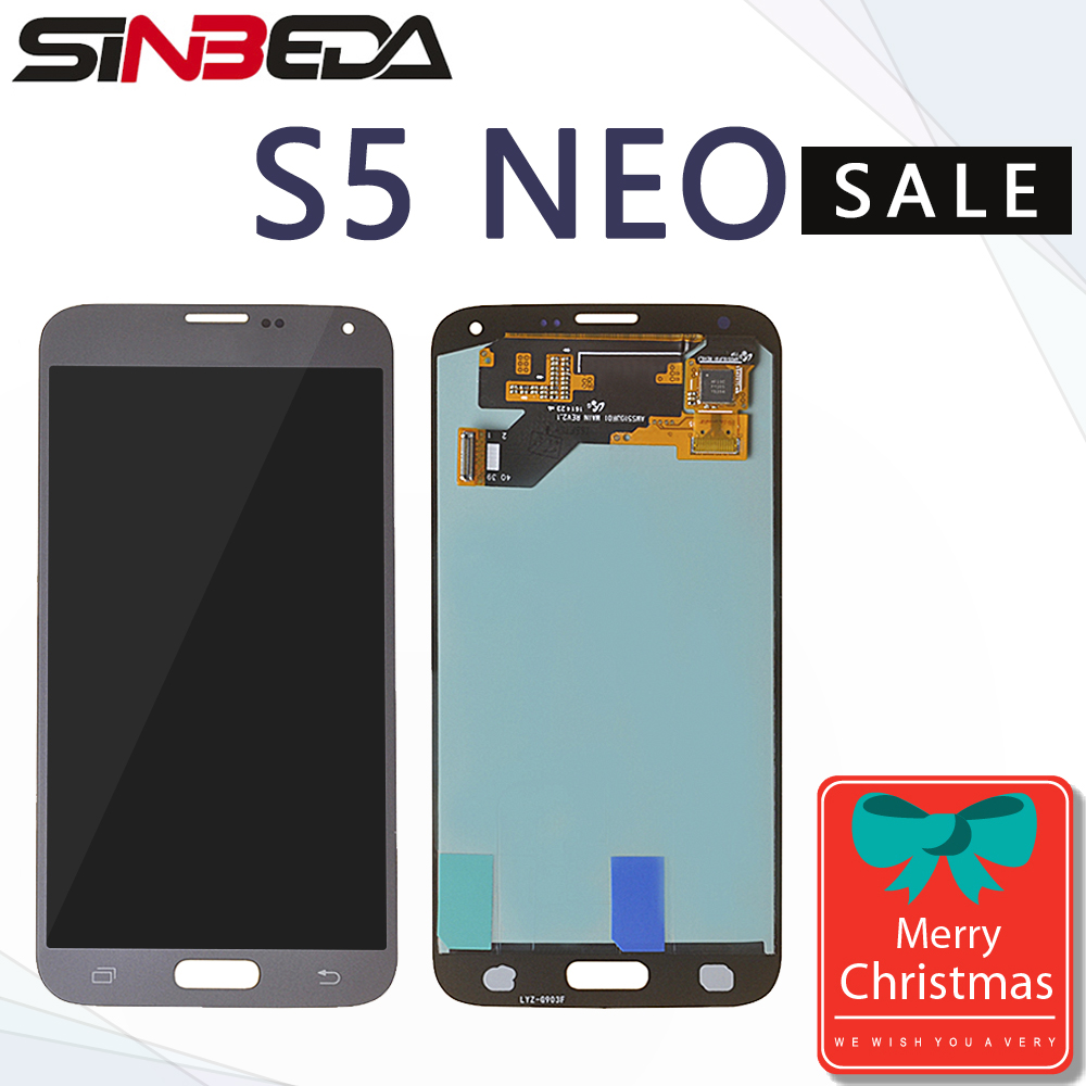 Sinbeda Super Amoled Silver/Black/Gold Color LCD Display For Samsung Galaxy S5 NEO G903 G903F G903M Touch Screen Digitizer Glass