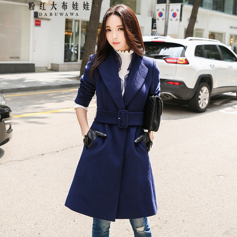 original 2017 new winter temperament ruffled turn down collar belt waist elegant vintage navy blue long coat women wholesale