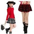 Девушка короткие юбки детская одежда весной для больших девочек мода плед мини-юбки Дети осень короткая юбка 3-15 лет