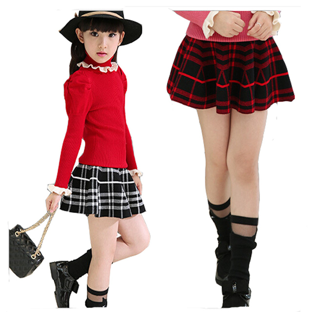 Girl short skirt Children's clothes in  spring for big girls fashion plaid mini skirt Children fall short skirt 3 - 15 years