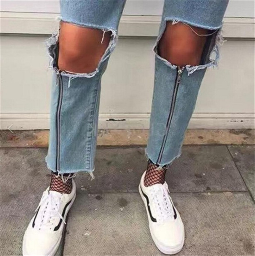 2017 Rushed Promotion Cotton Medium Zipper Fly Waist Jeans American Apparel Women's Torn Jeans Nine Points Zipper Hole Female knowledge cotton apparel кардиган knowledge cotton apparel модель 28184321