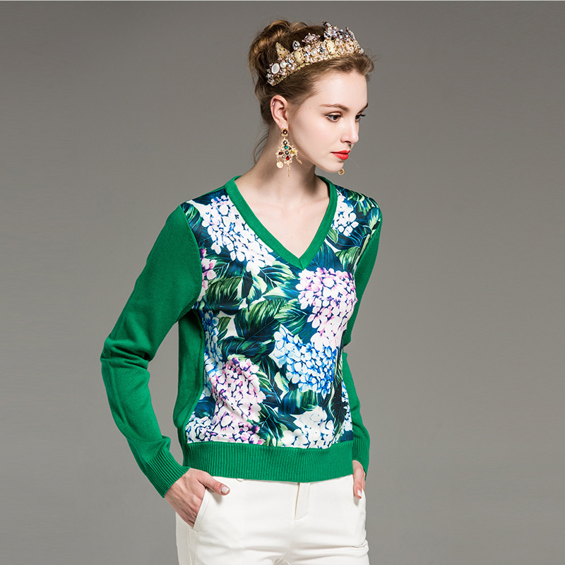 Patchwork Laine Mode Femmes Hortensia Tops Imprimé Designer Chandail Élégant Qualité Piste Fleur V Neck Casual De Haute 54jLqScR3A