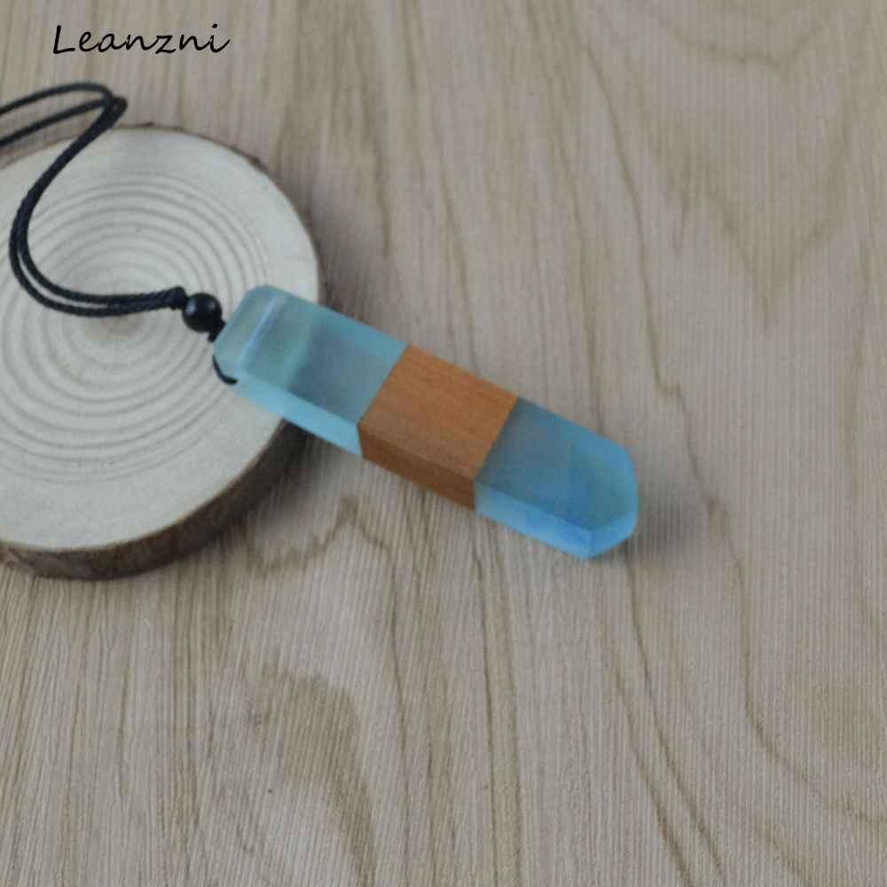 Leanzni винтажная Мода ручной работы дерево ожерелье из смолы кулон, тканая веревка, подарки, мужчины и женщины применимые ювелирные изделия