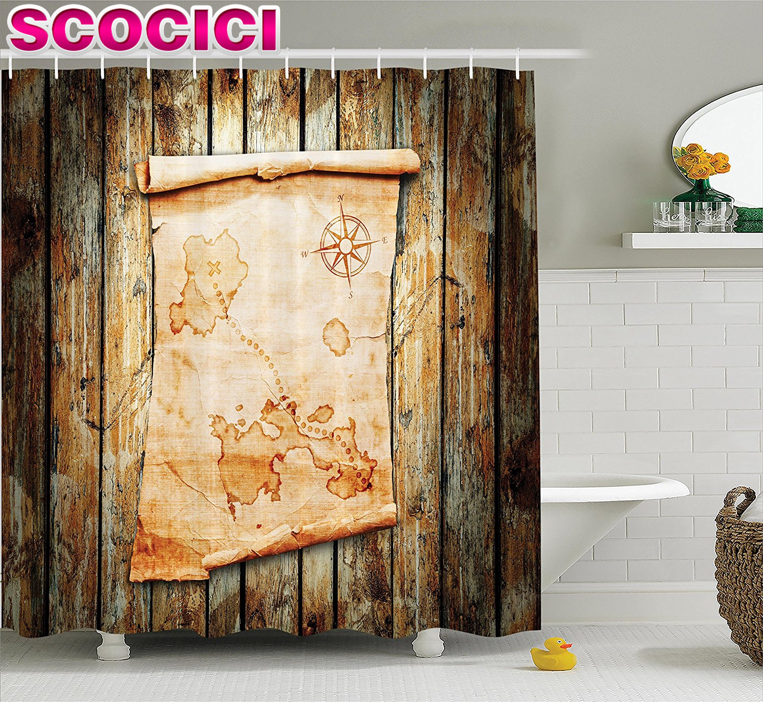 Treasure map shower curtain - Island Map Decor Shower Curtain Set Treasure Map On Rustic Timber X Marks The Spot Of Gold Nautical Pirates Concept Bathroom Acc