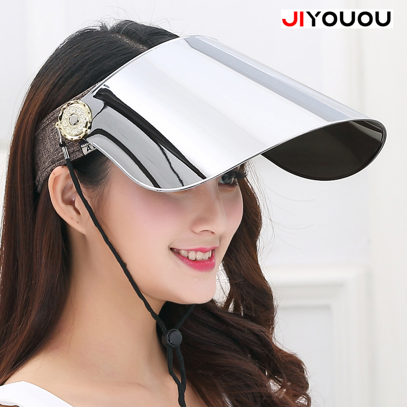 JIYOUOU 2018 The hd vision plastic visor organizer summer transparent womens sun motorcycle helmet Cap men window Anti UV green