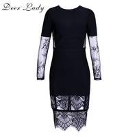 Deer Lady Sexy Lace Bandage Dresses 2017 Autumn Long Sleeve Bodycon Mini Dress Black Bandage Dress
