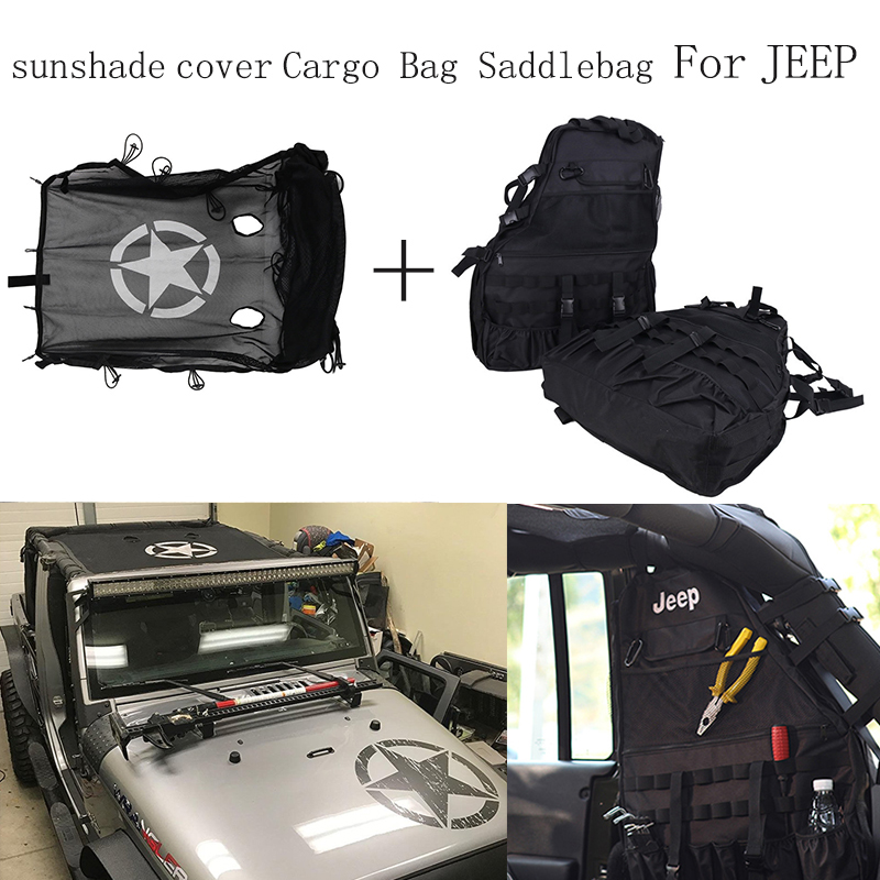 For Jeep Wrangler JK Car Sun Shade Top Sunroof Cover + Storage Organizers Cargo Bag Saddlebag 2007 -2016