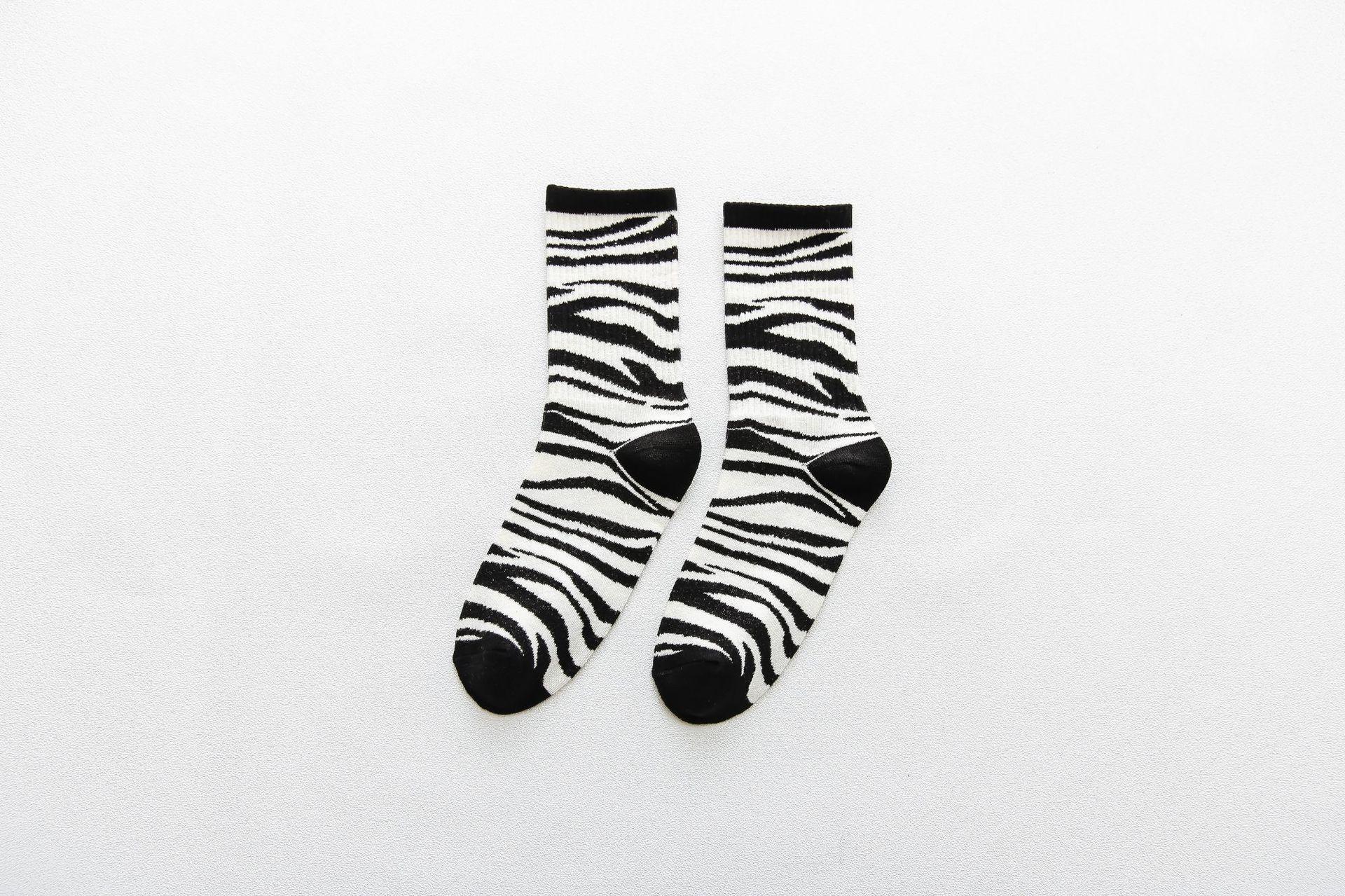 New Unisex Cow Pattern Zebra Pattern Cotton Socks Casual Socks Street Tide Socks
