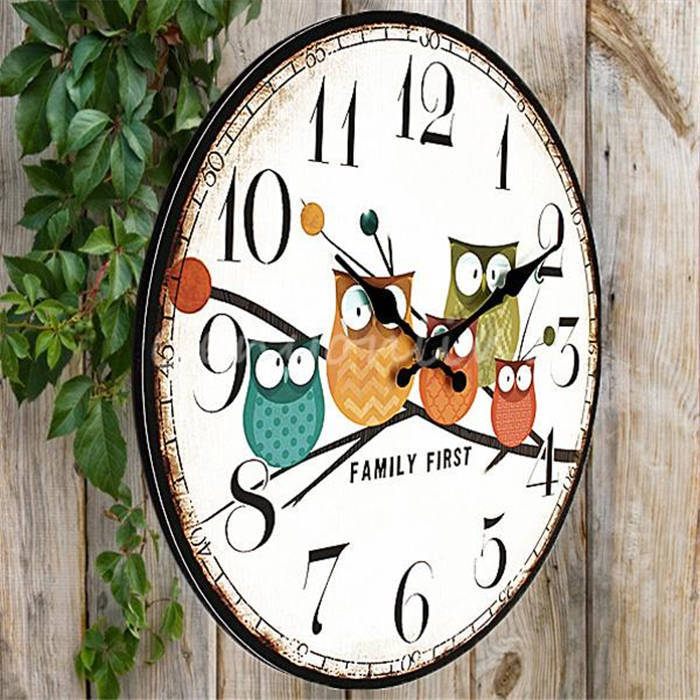 2016 Modern Design Owl Vintage Rustic Shabby Chic Home Office Cafe  Decoration Art Large Wall Clock