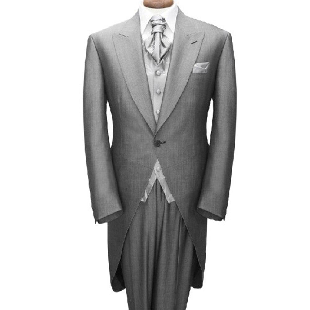 Frac Rivestimento 2016 Custom Made Grigio Da Sposa Frac Tuxedo, Su misura Abiti Da Sposa Per Gli Uomini, lunga Coda Sposo Smoking Frac