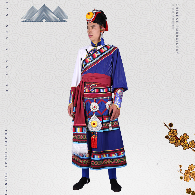 Spring Tibetan Dance Garment China Ethnic Minority Man Autumn Tibet Race Outfit Standard Quality Traditional Handicraft Clothing
