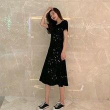 купить Women Long Dress Loose Sequin Dresses Cross Rope Open Back Women Maxi Dress Sundress Female Summer дешево