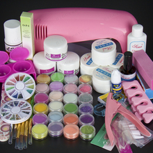 Professional nail decoration set, acrylic nail kit set or UV gel nail set including a 9W UV dryer lamp and nail art tools