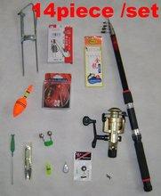 14 pcs/set 2.7m FPR Fiberglass fishing pole rods fish Reels line Scissors Stoppers Rainbow float Fishhook Combination Accessorie
