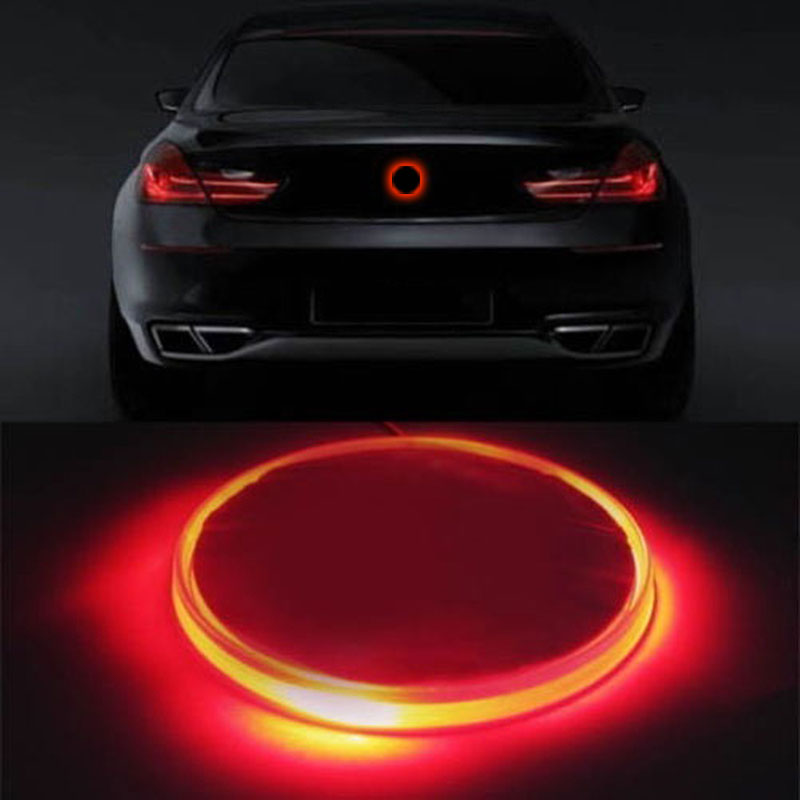 1pc Red Led Light Car Decal Sticker Logo Badge Emblem Light Lamp