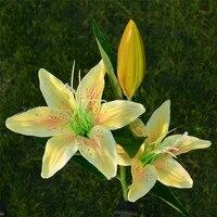 Super 3 Head Solar LED Decorative Outdoor Lawn Lamp 3 Head Lily Light 170529