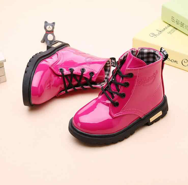 2019 New Girls Boys Shoes Spring Autumn PU Leather Children Snow Boots Fashion Toddler Boots Winter Fur Warm Boots Kids Sneakers