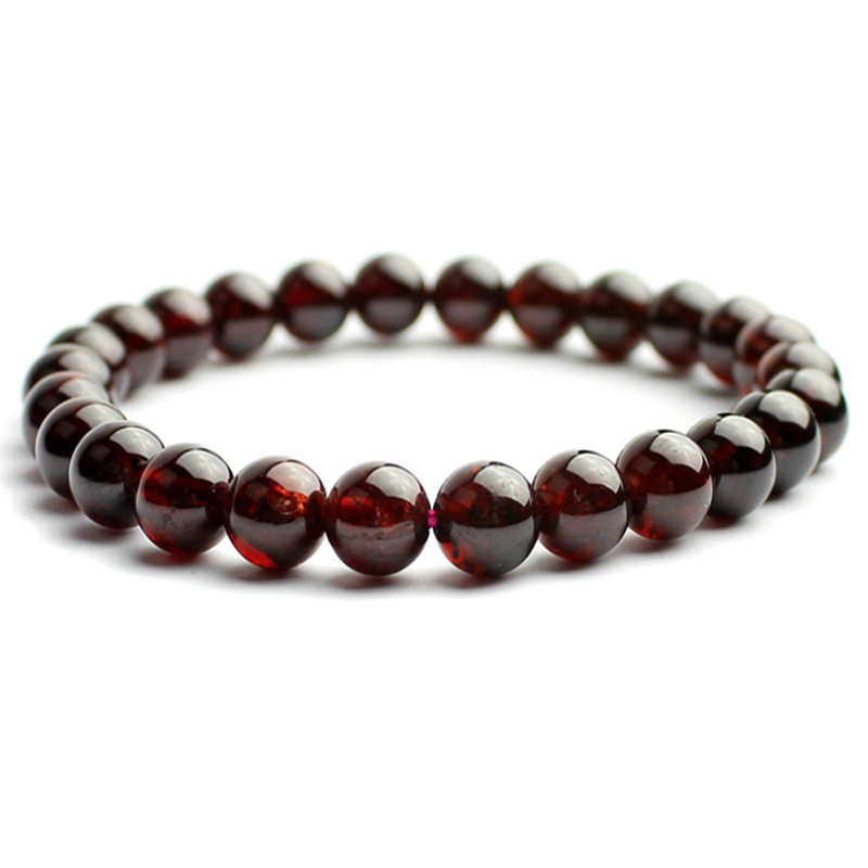 January Birthstone Natural Garnet Bead Bracelet Claret Red Handmade Pulseras Stretch Cord Jewelry Whole In Strand Bracelets From Accessories