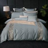 로얄 그레이 핑크 자수 침구 4/6 개 침대 린넨 이불 커버 퀸 킹 사이즈 침대 커버
