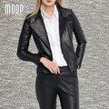 Estilo americano negro chaqueta de cuero genuino mujeres de piel de Cordero chaqueta de la motocicleta escudo veste femme cuero jaqueta de couro LT740