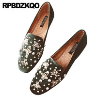 Rhinestone Loafers Suede Celebrity Rivet Women Dress Shoes Square Toe Pink Crystal Metal Bee Italian Stud Green Flats Diamond