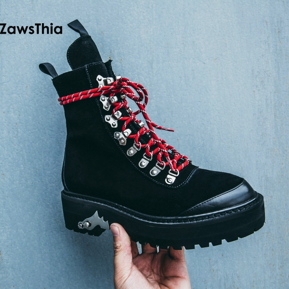 ZawsThia genuine leather cow suede lace up martin boots womens shoes punk rock platform woman motorcycle riding ankle boots ...