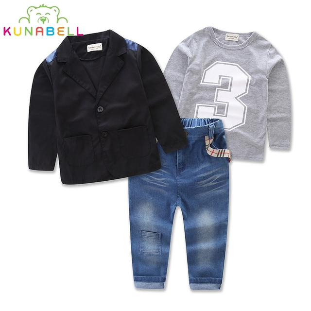 Boys Spring clothing Sets kids boys T-shirt + Denim Pant + Jacket 3 pieces clothing sets Clothes 2017 New children Costume L215