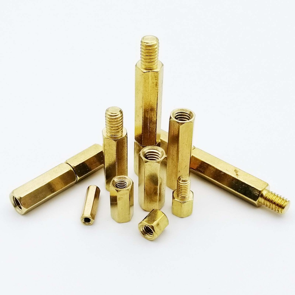 10/50pc Solid Brass Copper M2 M2.5 M3 M4 Hex Standoff Hexagon Pillar M-F F-F Male-Female Female Spacer for PCB Board Motherboard