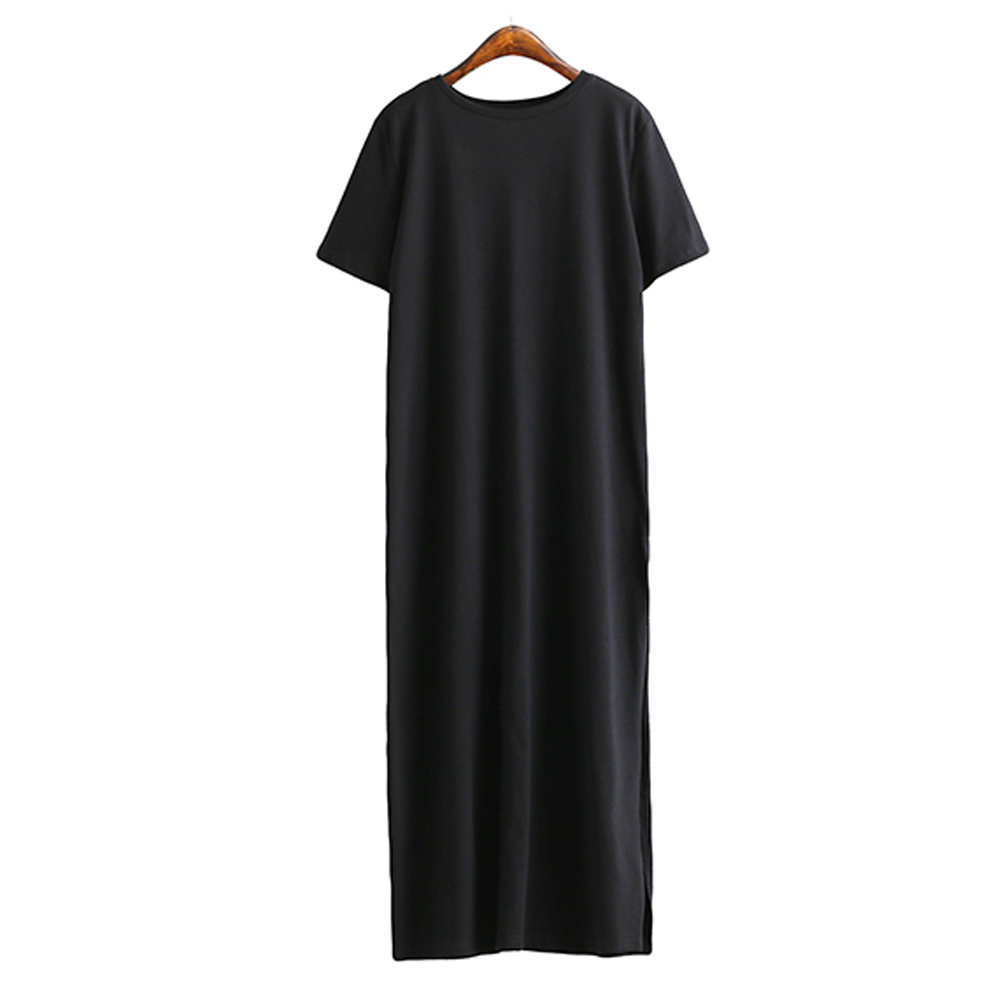 Autumn Winter T Shirt Dress Women Maxi Split Vintage Casual Sexy Bodycon Knitted Boho Christmas Black Long Plus Size Dresses