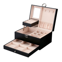 Hot Sell Black Color Leather Jewelry Package Storage Box Carrying Cases Large Space For Earring Ring Necklace Bracelet Organizer