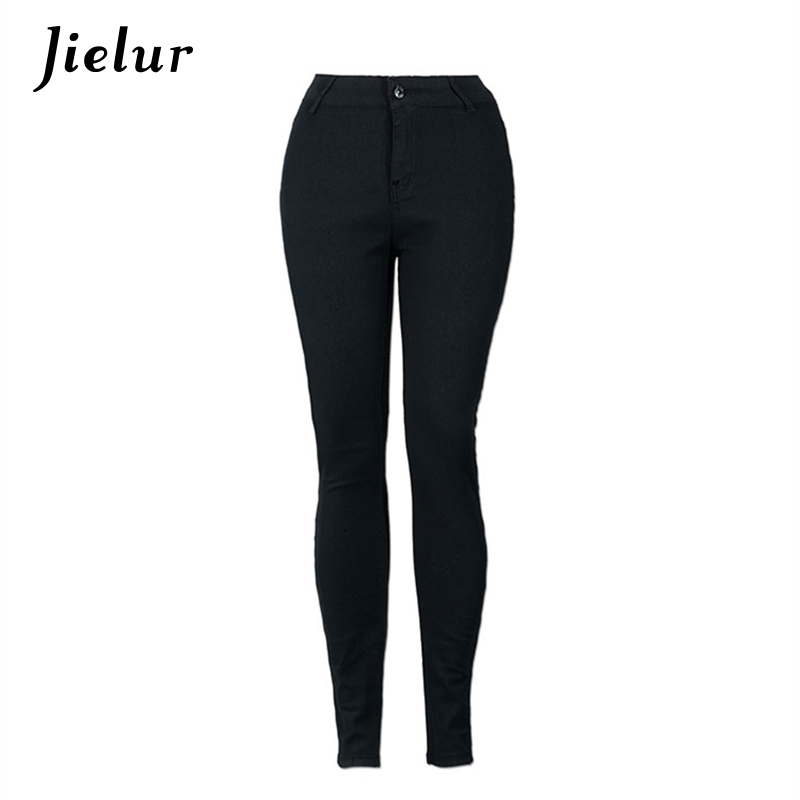 Europe Casual Solid Color High Waist Jeans Women Elastic Pocket Personality Black Skinny Jeans Femme Basic Pencil Pants Woman