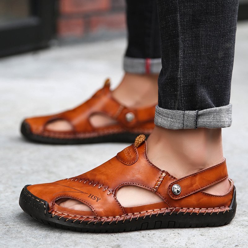 2019 Summer Fashion Men Non-slip Comfortable Leather Sandals Men's Breathable Casual Shoes Big Size 38-48 Beach Sandals For Men(China)