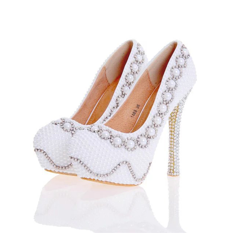 2017 Designer Pearl Shoes in White and Ivory Wedding Party High Heel Shoes with Silver Rhinestone Luxurious Prom Pumps Plus Size цена 2017