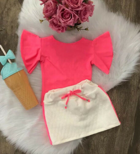 US Summer Kids Baby Girl Clothes Tops T-Shirt Dress Skirt Outfits Sunsuit 1-6Y