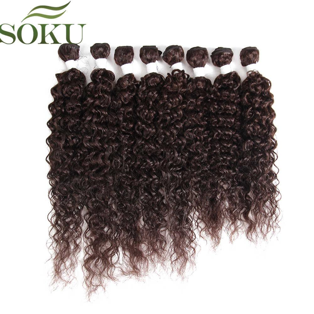 "SOKU 16 ""-20"" rizado pelo sintético mechones 8 unids/pack de alta temperatura de fibra del pelo teje coser en extensiones de cabello"