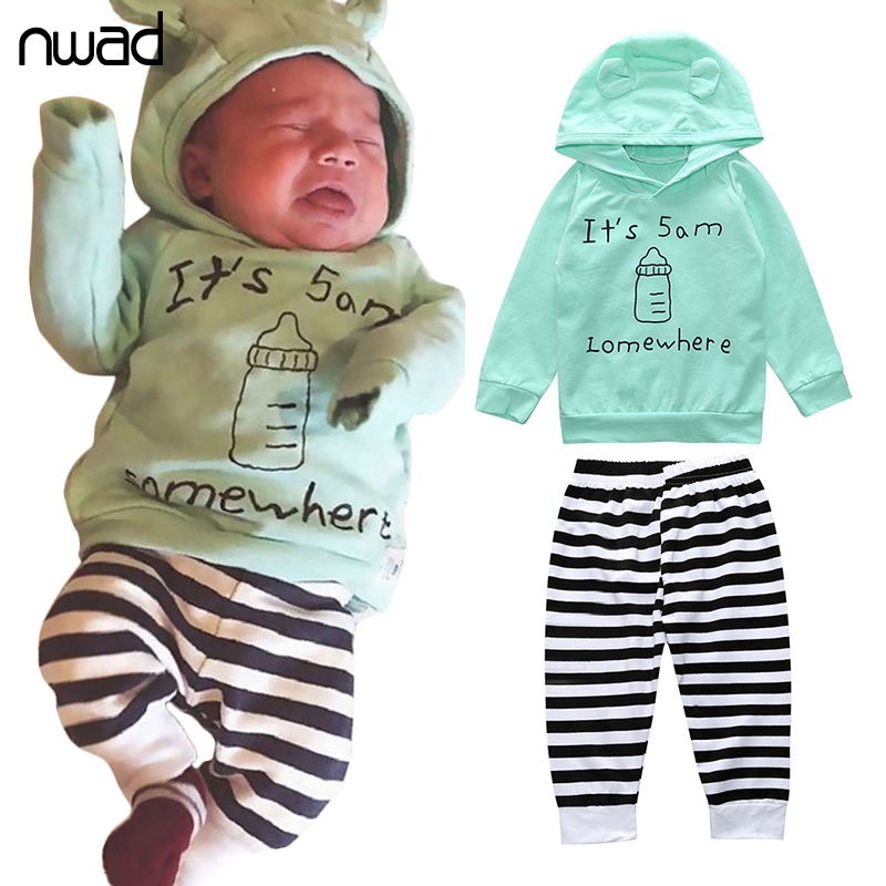 NAWD Newborn Baby Clothes Fashion Girl Boy Striped Clothing Suit Hooded Sweatshirt +Pants Baby Kids Autumn Outfits FF375