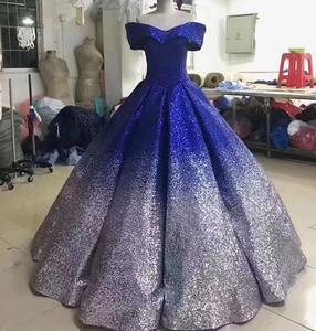 Image 5 - Glitter Mix Sequined Ball Gown Evening Dress Dubai Arab Off Shoulder Evening Gowns Robe De Soiree