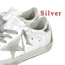 BBK 2017 Superstar goose casual enfants Chaussures étoiles chaussures Respirer 100% véritable en cuir hommes et femmes glitter chaussures appartements Faible usine fait