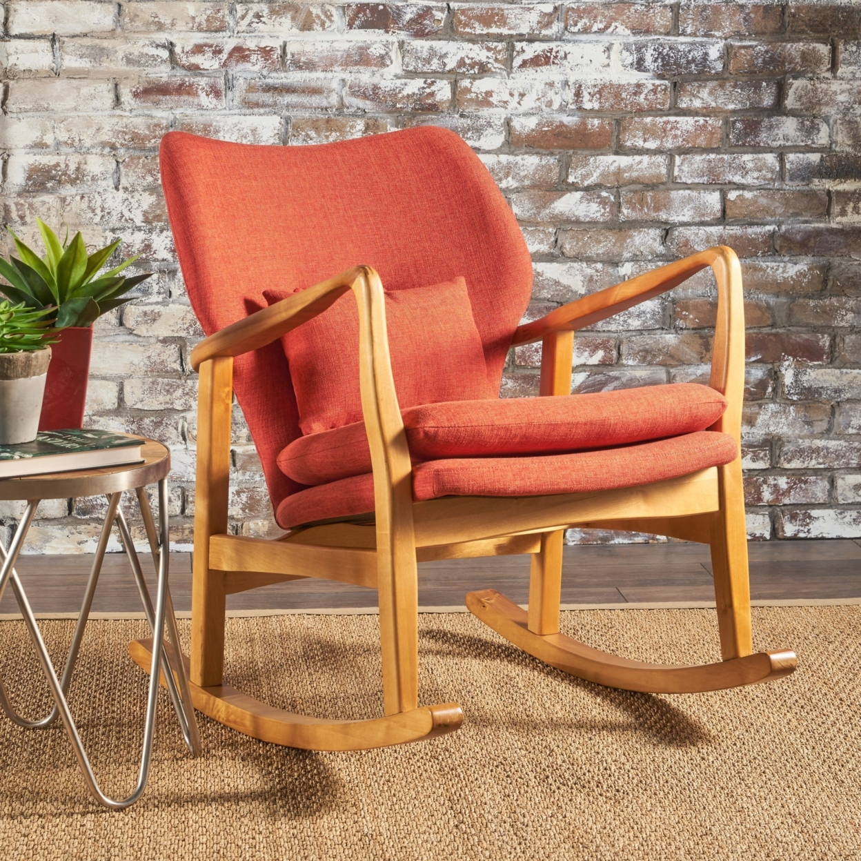 Balen Mid Century Modern Fabric Rocking Chair snowflake christmas balls sparkling winter print waterproof table cloth