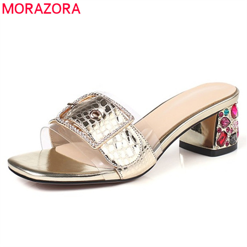MORAZORA 2019 top quality genuine leather shoes women sandals buckle crystal square heels summer shoes woman mules party shoesMORAZORA 2019 top quality genuine leather shoes women sandals buckle crystal square heels summer shoes woman mules party shoes