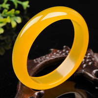 yu xin yuan Fine jewelry Natural Yellow Round agate Women Jade Bangle Fashion Woman's Jewelry 56 64mm