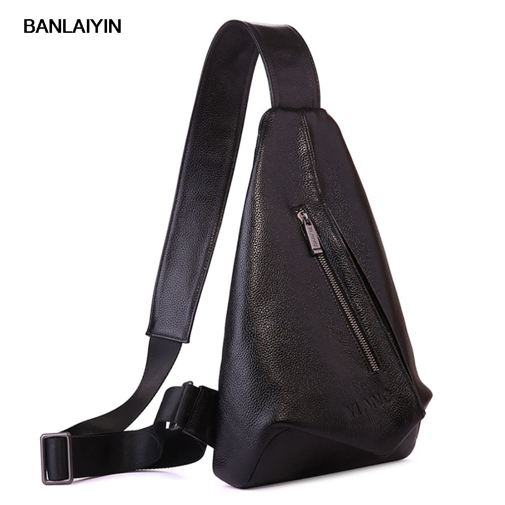 Men Genuine Leather  First Layer Cowhide Messenger Shoulder Bag Fashion Bags Travel Casual  Sling Chest Back Pack 7071lc free shiping 2015 brand genuine leather travel bag first layer of cowhide travel bags for men tote bag
