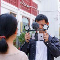 M Rig Handheld Camera Bracket Rig Triple Hot Shoe Mounts Video Stabilizer Vlog Grip 3 Hot Boots Mouth Mobile Rabbit Cage