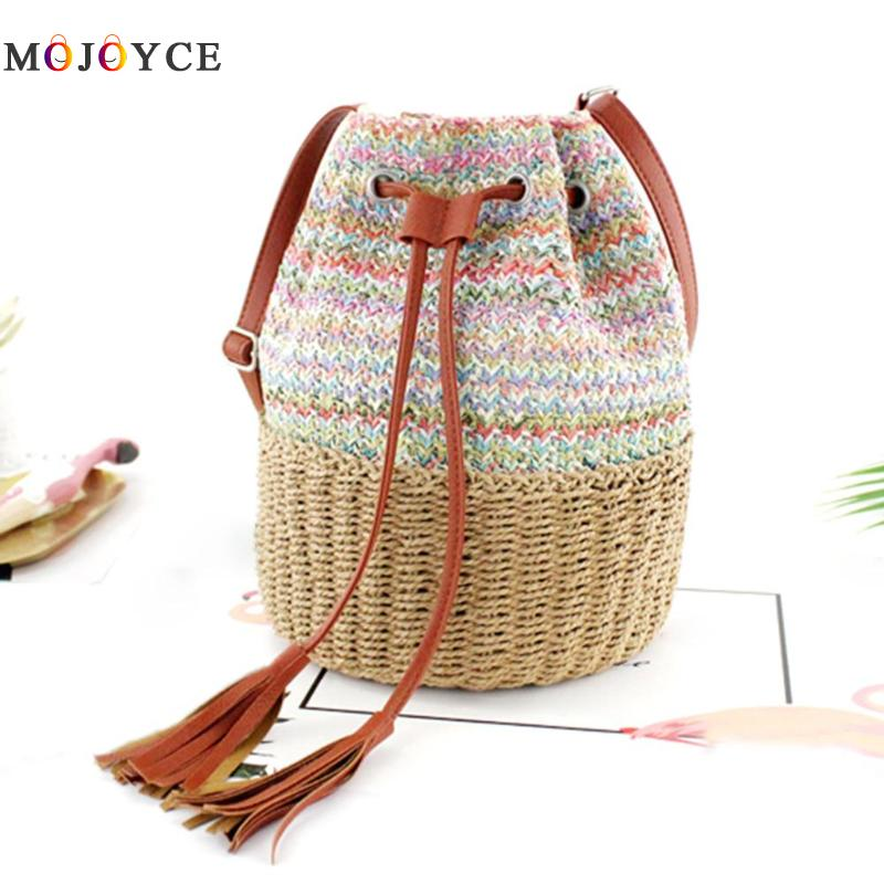 Boho Straw Weaving Shoulder Crossbody Bags Women Knitting Tassel Drawstring Bucket Bag Bolsa Feminina Boho Straw Weaving Shoulder Crossbody Bags Women Knitting Tassel Drawstring Bucket Bag Bolsa Feminina